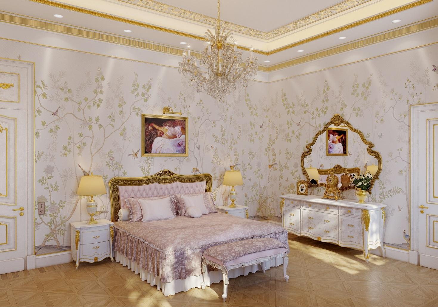 Визуализация классической спальни в квартире с высокими потолками