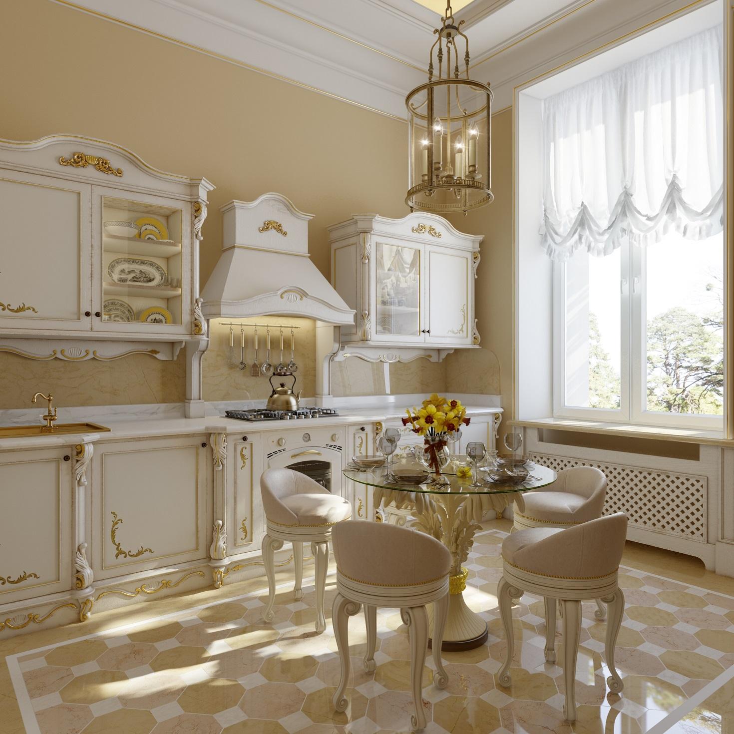 Интерьер классической кухни в квартире в романовом переулке