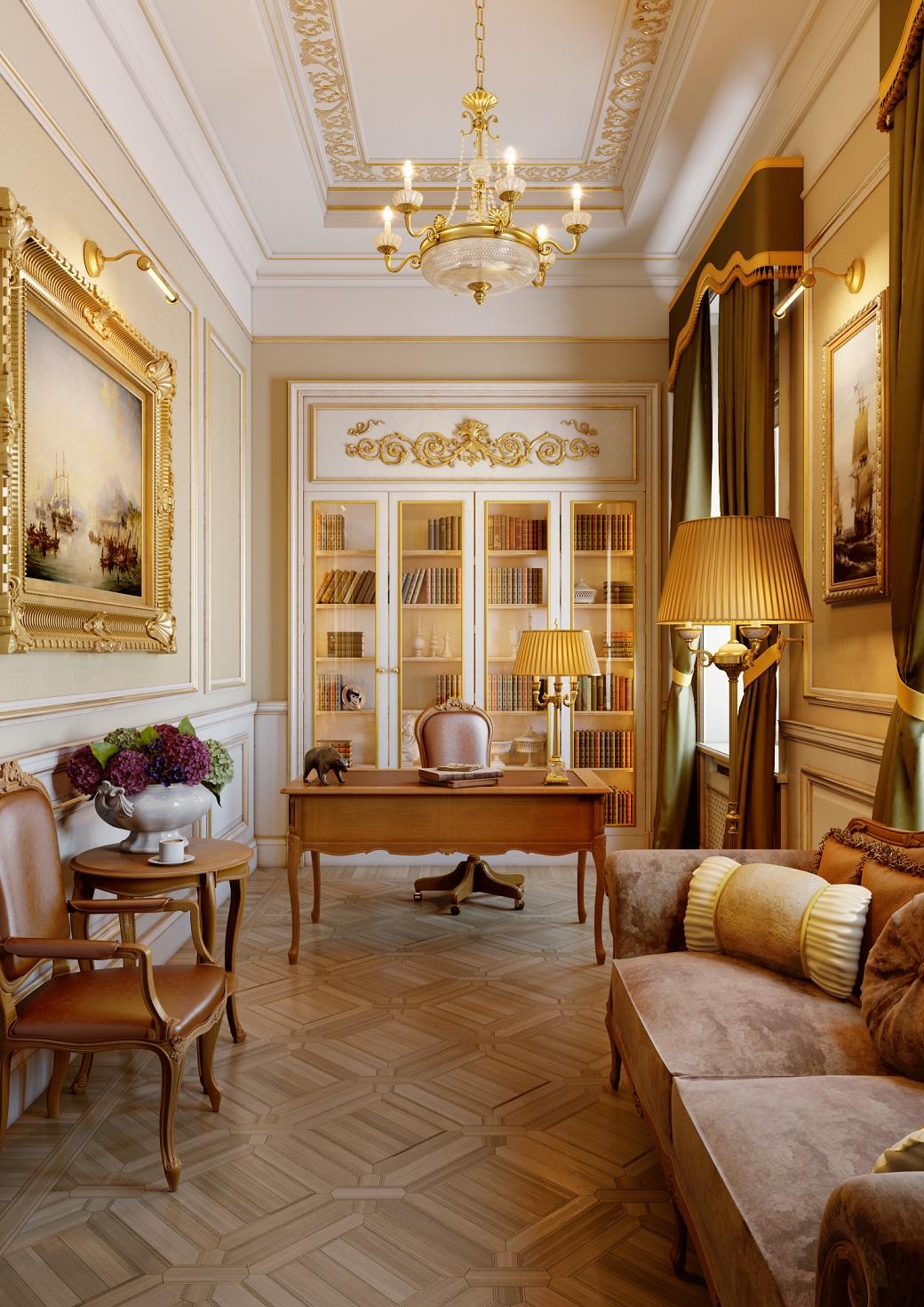 Классический кабинет в квартире в романовом переулке дом пять