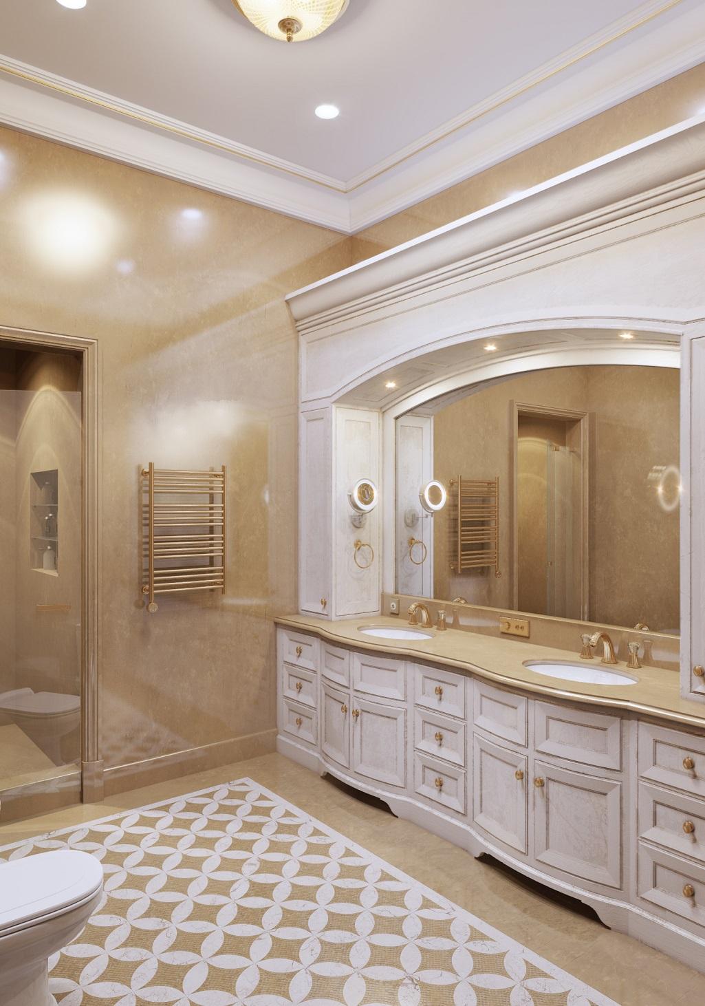 Классическая ванная с высокими потолками в квартире в романовом переулке