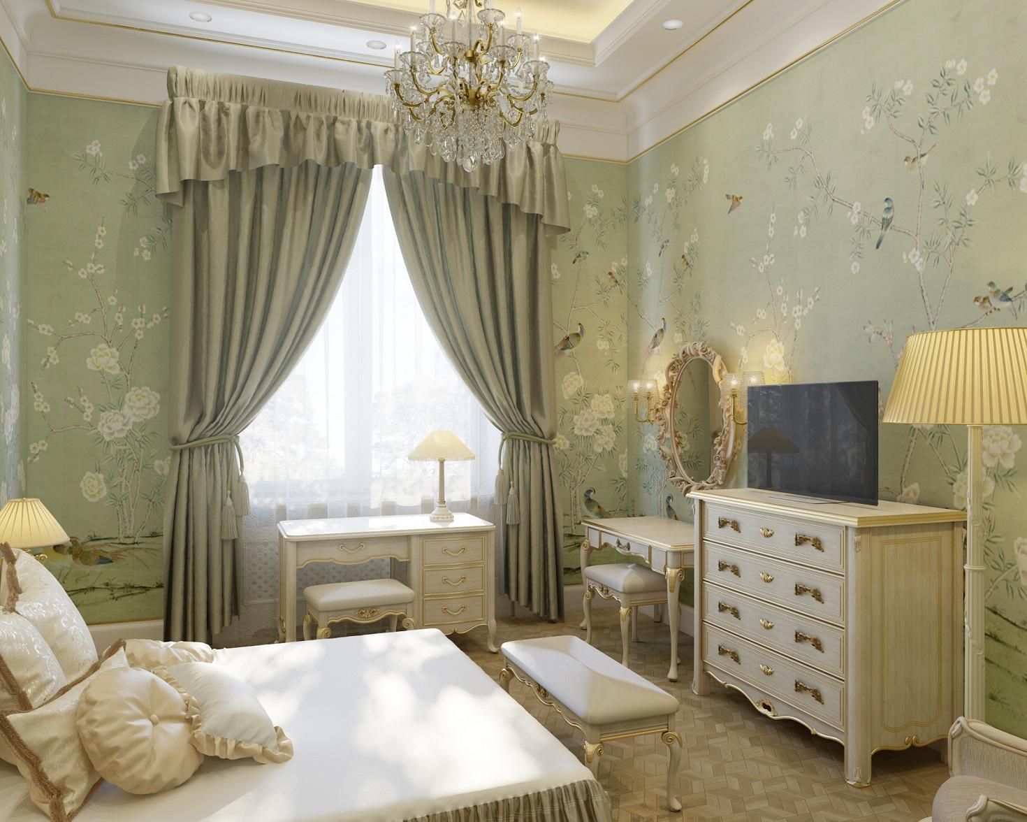 Интерьер спальни в классическом стиле в романовом переулке дом 5