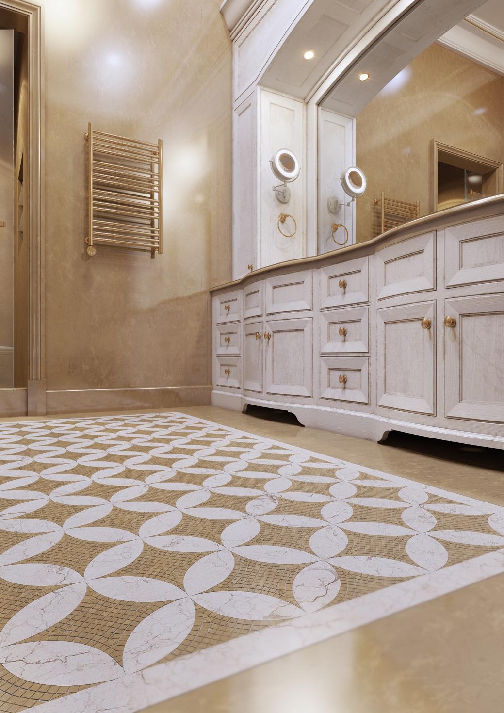 Мозаичный пол в интерьере классической квартиры в романовом переулке