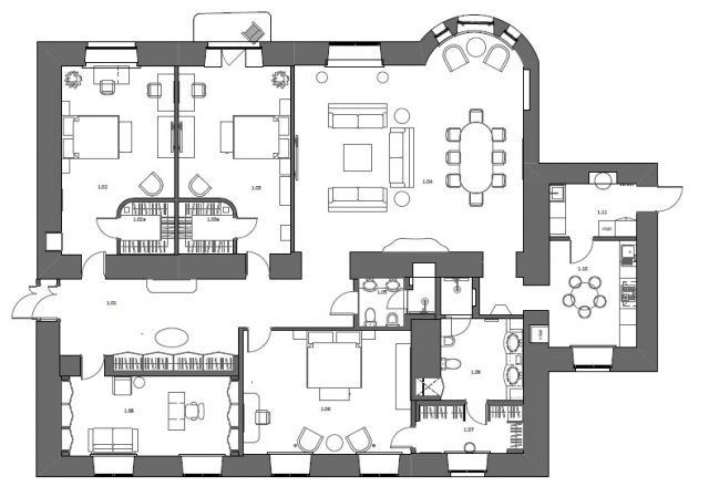 План расстановки мебели в квартире в романовом переулке