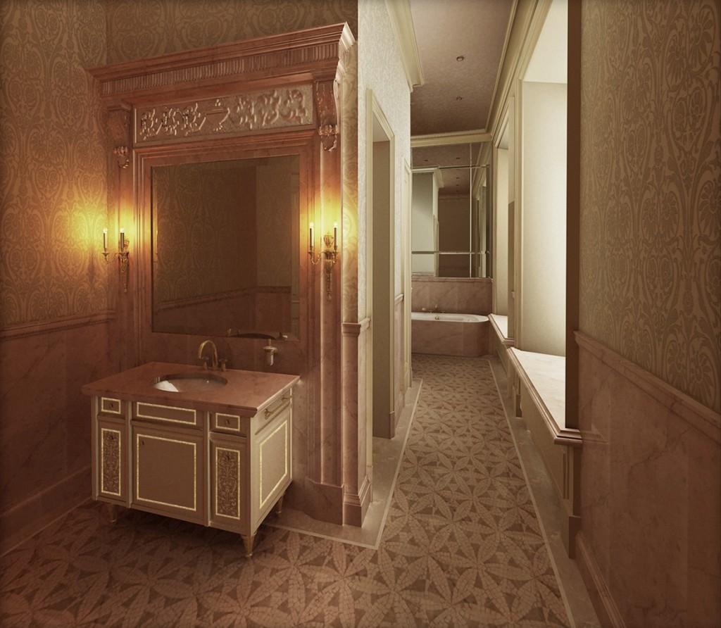 Классический интерьер ванной с зеркалами романов пер