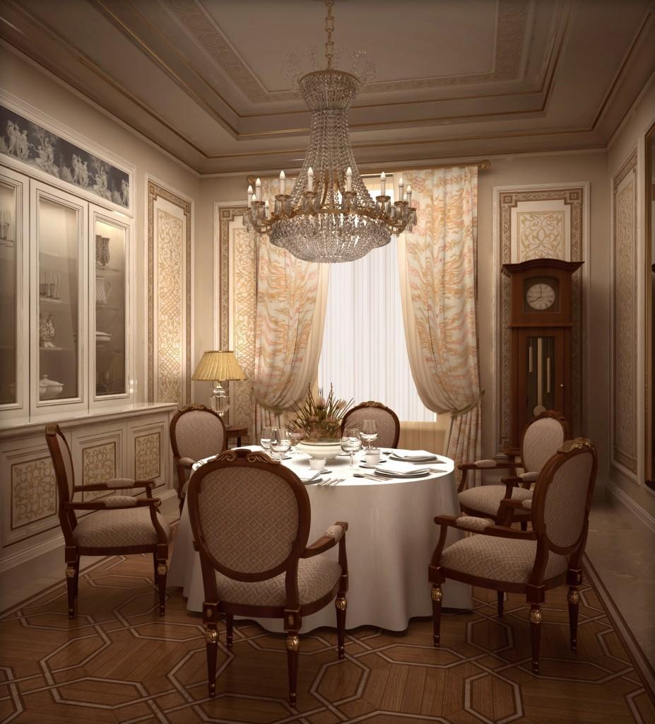 Интерьер столовой в классическом стиле в романовом переулке дом 3