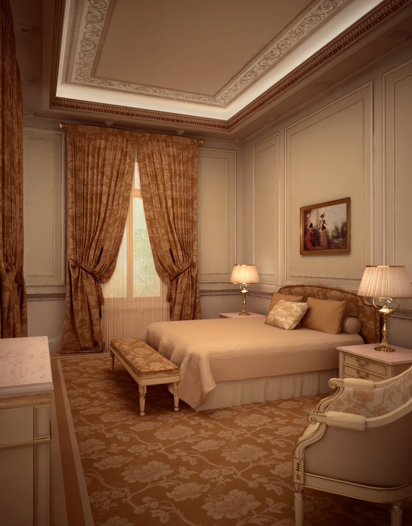 Изготовление интерьера классической спальни
