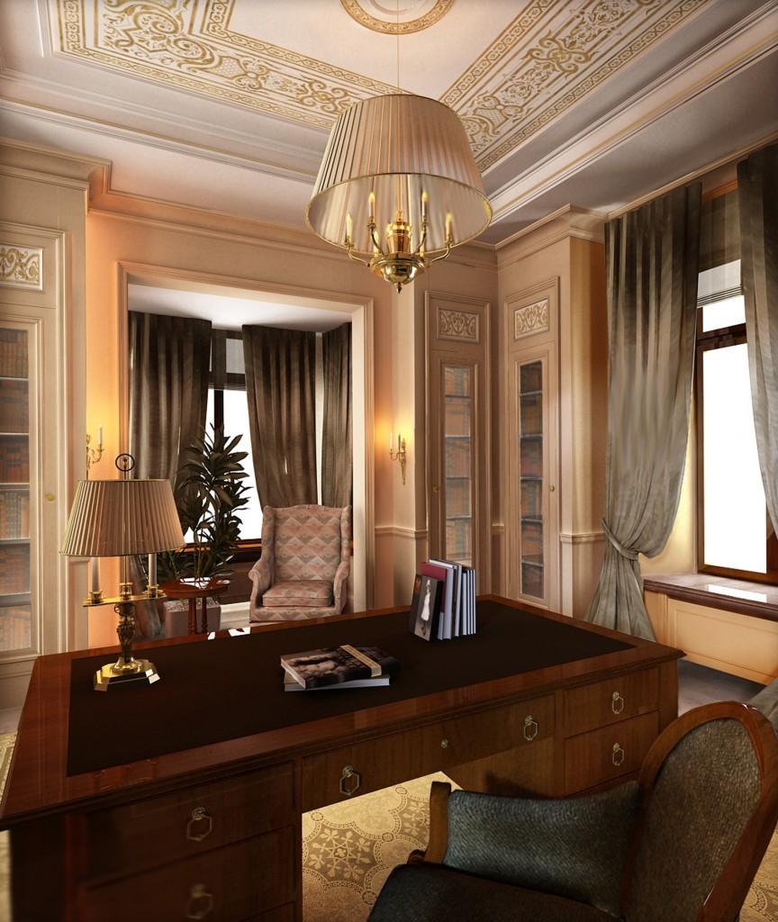 Интерьер классического кабинета в центре Москвы