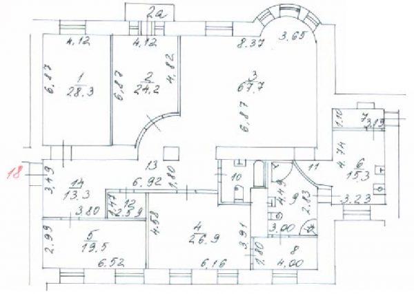 Планировка проекта по плану БТИ