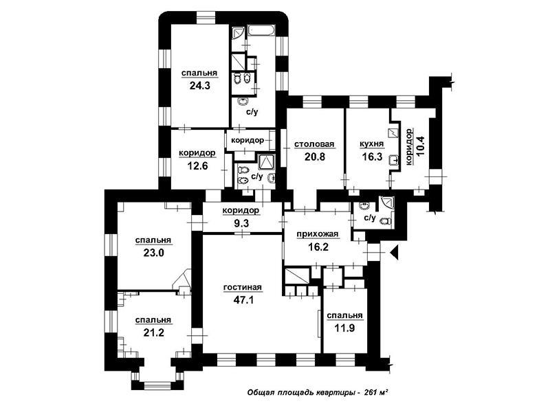 План квартиры Романов переулок дом 3